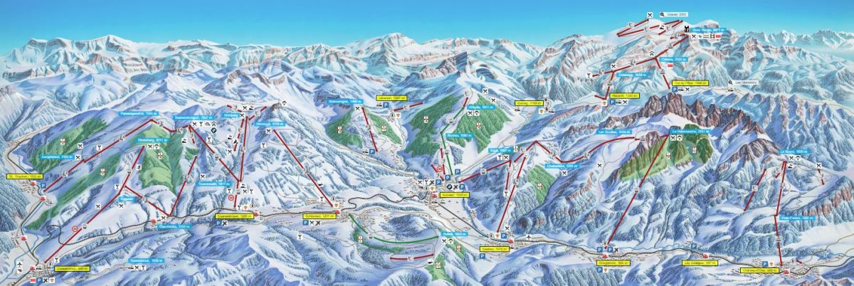 Gstaad Mountain Rides Ski Resorts Switzerland ski map Ski